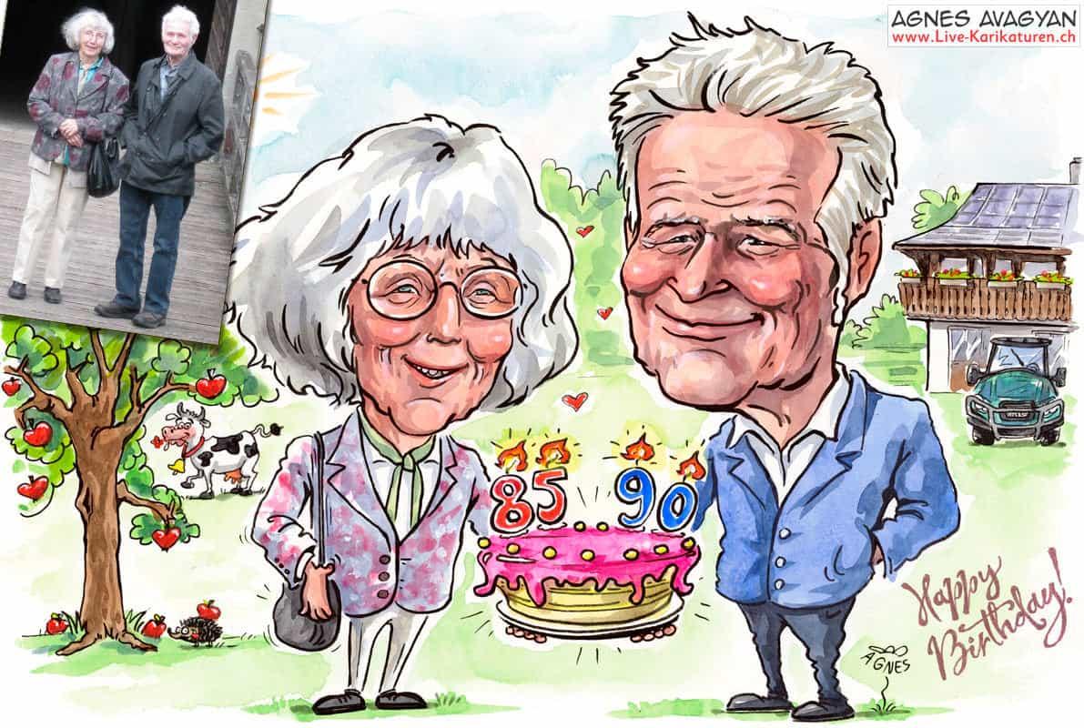 Portraet ab Foto malen, Geschenkidee, Doppelportraet, 85 90 Jahre, Ehepaar, Senioren