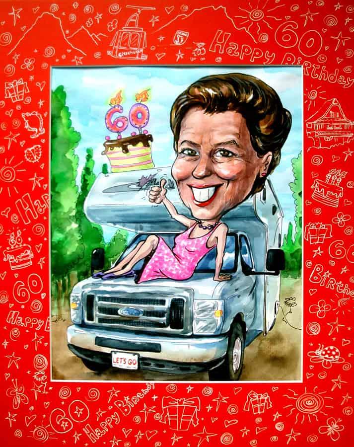 Portraetzeichnung 60 Jahre, Wohnmobil, Kuchen, Happy Birthday, Frau