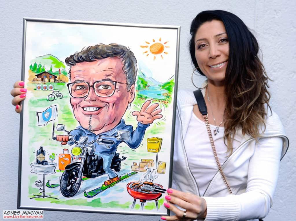 Cartoon Porträt Gemaelde malen ab Foto, Mann Brille, Hobbys Motorrad Grill Ski Natur, Obwalden, Post