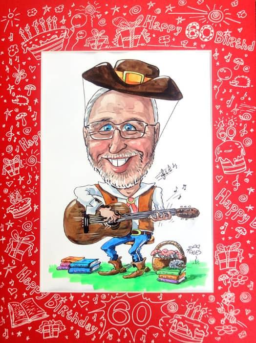 60 Jahre Geburtstag Geschenkidee Portraet ab Foto malen, Gitarre, Cowboyhut, Mann, Musik, lustig