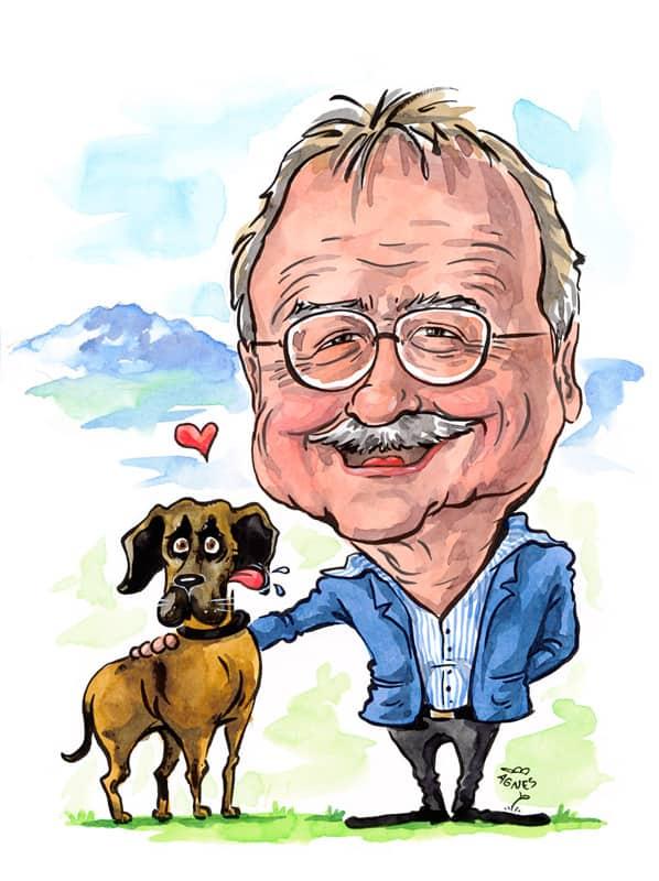 Geschenkidee Haustier Portraet malen ab Foto, Mann, Hund, Pilatus