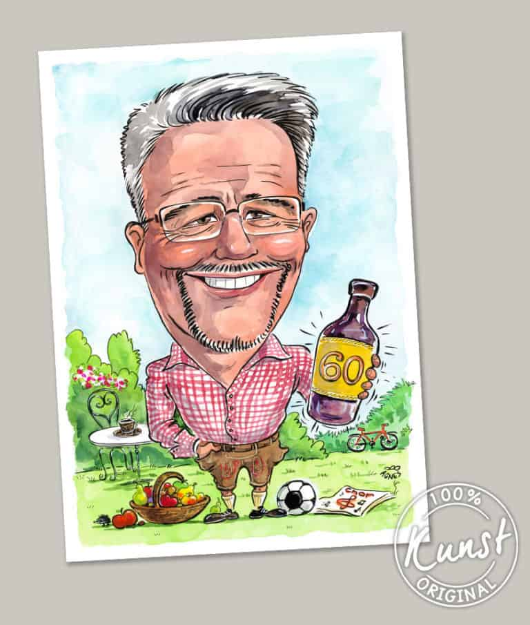 Agnes Cartoongemaelde 60 Jahre Mann Bier Velo Fussball Garten blauer Himmel Brille Hemd Fussball Geschenkidee ab Foto malen